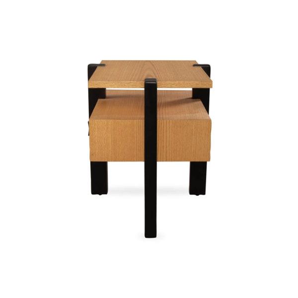 Slava Beige and Brown Wood Bedside Table Side