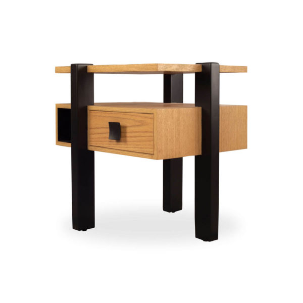 Slava Beige and Brown Wood Bedside Table Side View