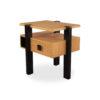 Slava Beige and Brown Wood Bedside Table 2