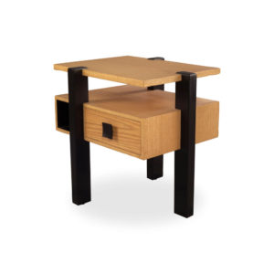 Slava Beige and Brown Wood Bedside Table Top View