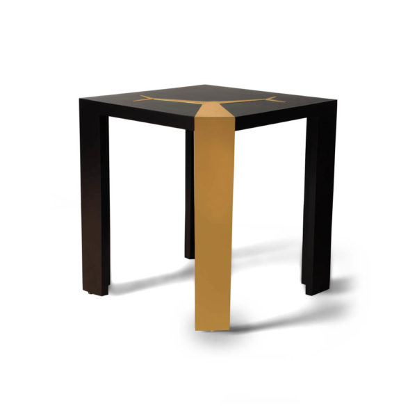 Tree Black Wood and Gold Metal Side Table Beside View