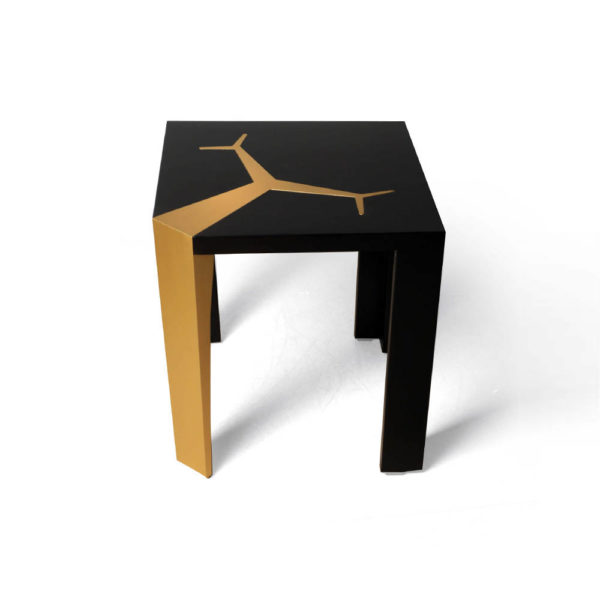 Tree Black Wood and Gold Metal Side Table