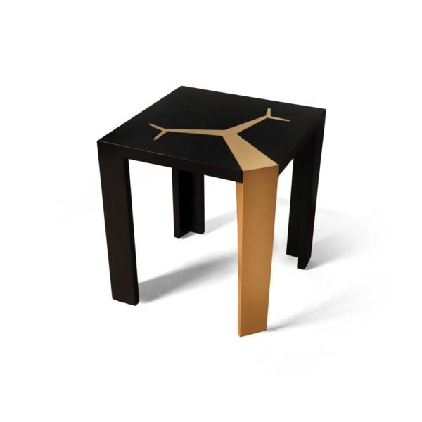 Tree Black Wood and Gold Metal Side Table Corner View