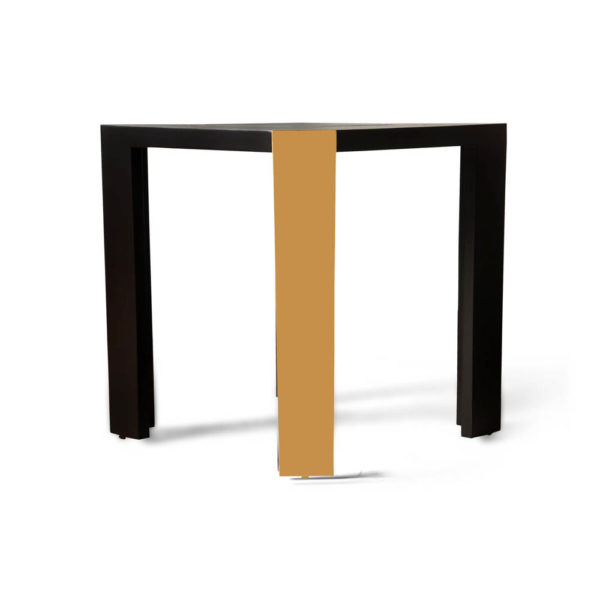 Tree Black Wood and Gold Metal Side Table Details