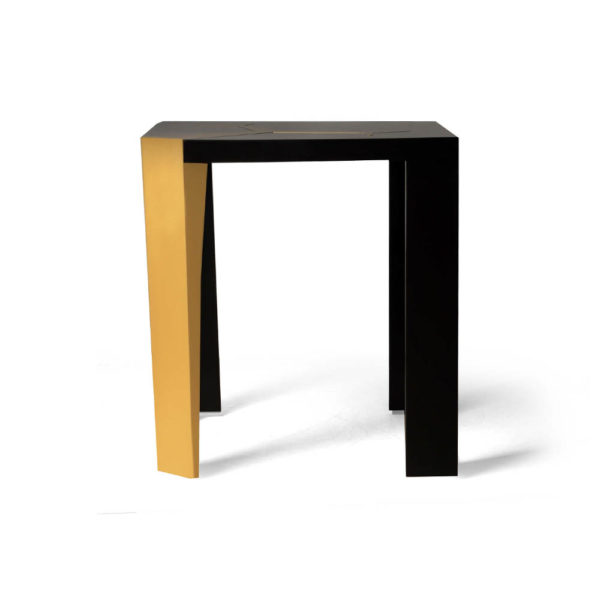 Tree Black Wood and Gold Metal Side Table Side View