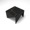Trio Square Wooden End Table with Brass Inlay 1