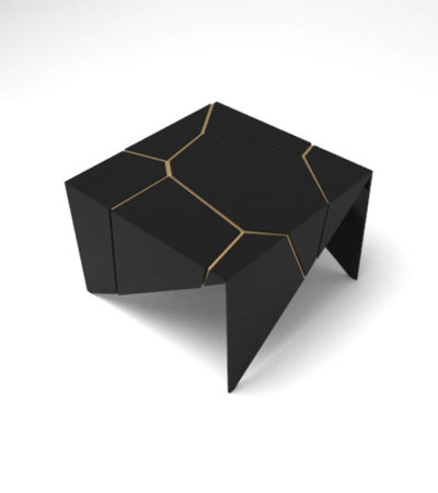 Trio Square Wooden End Table with Brass Inlay