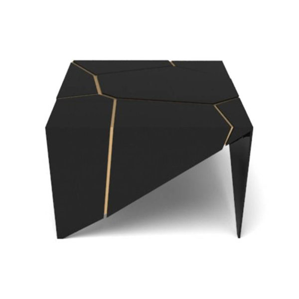 Trio Square Wooden End Table with Brass Inlay Front