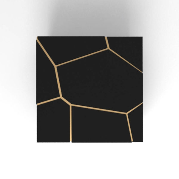 Trio Square Wooden End Table with Brass Inlay Top