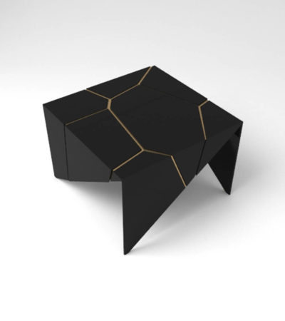 Trio Square Wooden End Table with Brass Inlay Veneer
