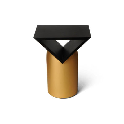 V Borma Round Dark Brown and Gold Cylinder Side Table Top View