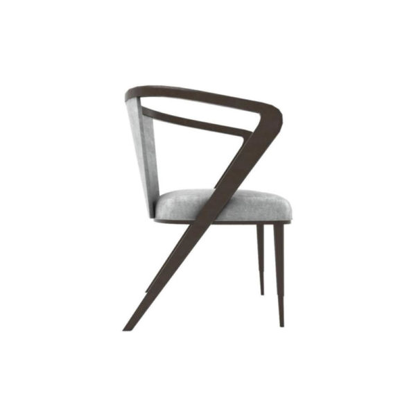Zaria Upholstered Dining Chair with Armrest Right Side View