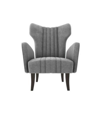 Zelda Upholstered Wing Armchair with Black Wooden Legs
