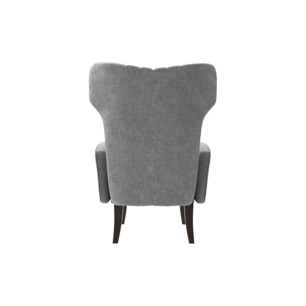 Zelda Upholstered Wing Armchair with Black Wooden Legs Back