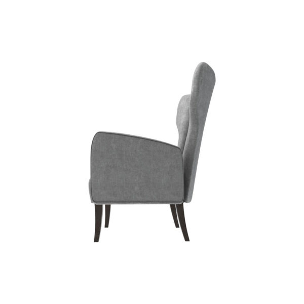Zelda Upholstered Wing Armchair with Black Wooden Legs Left Side View