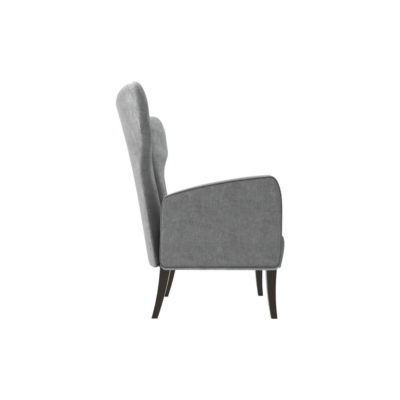 Zelda Upholstered Wing Armchair with Black Wooden Legs Right Side View