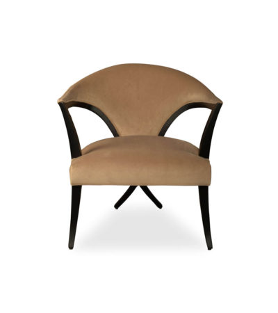 Zelle Upholstered Curved Armchair With Cross Legs