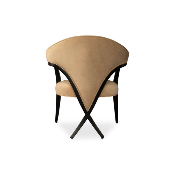 Zelle Upholstered Curved Armchair With Cross Legs Back