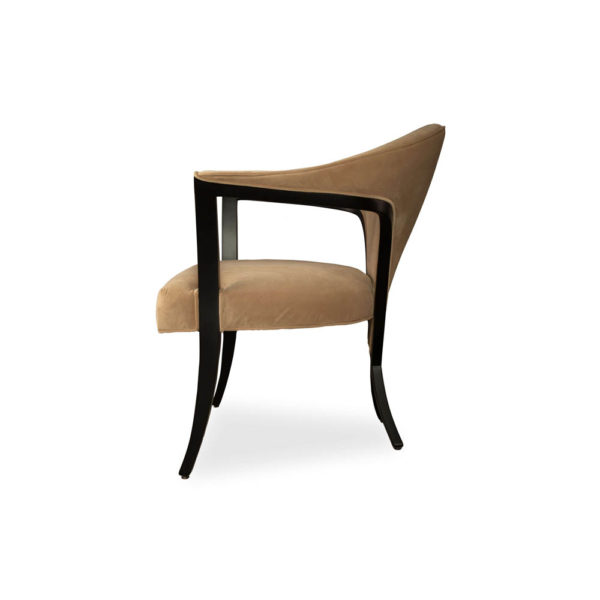 Zelle Upholstered Curved Armchair With Cross Legs Side View
