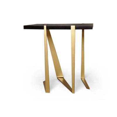 Anais Wooden Side Table with Gold Stainless Steel Legs Beside