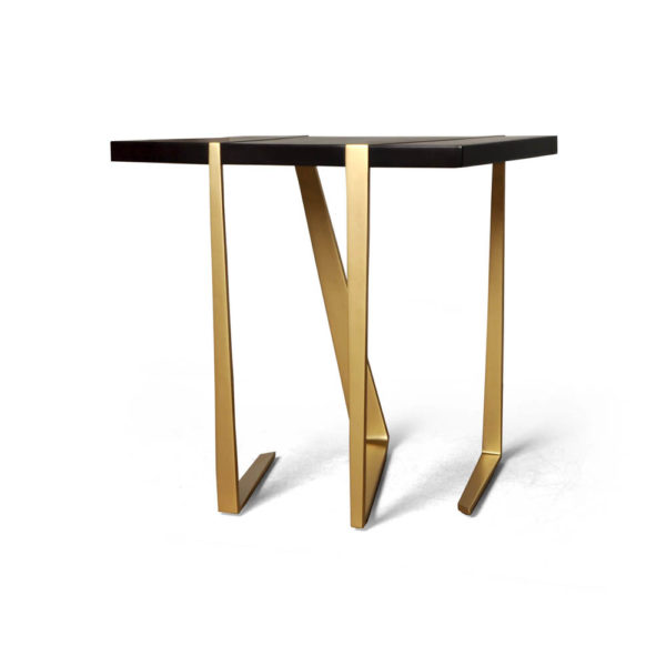 Anais Wooden Side Table with Gold Stainless Steel Legs Beside View