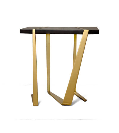 Anais Wooden Side Table with Gold Stainless Steel Legs Front View