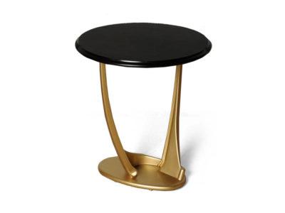 Anita Dark Brown and Gold Circular Side Table