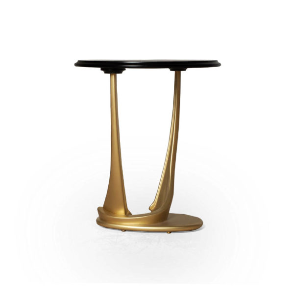 Anita Dark Brown and Gold Circular Side Table Table Leg