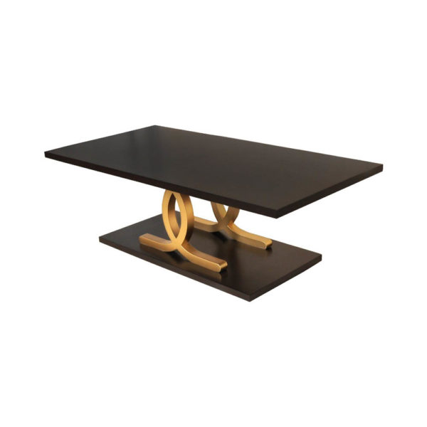 Azaro Brown and Gold Coffee Table Beside View