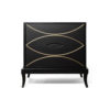 Blair Dark Brown 2 Drawer Bedside Table with Brass Inlay 1