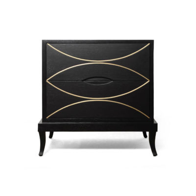 Blair Dark Brown 2 Drawer Bedside Table with Brass Inlay