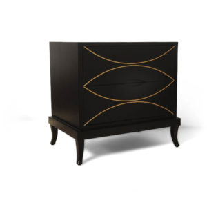Blair Dark Brown 2 Drawer Bedside Table with Brass Inlay Beside View