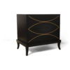Blair Dark Brown 2 Drawer Bedside Table with Brass Inlay 2