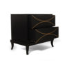 Blair Dark Brown 2 Drawer Bedside Table with Brass Inlay 4