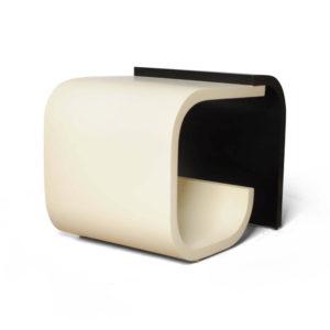 Bono Dark Brown and Cream Rectangular Side Table Beside View