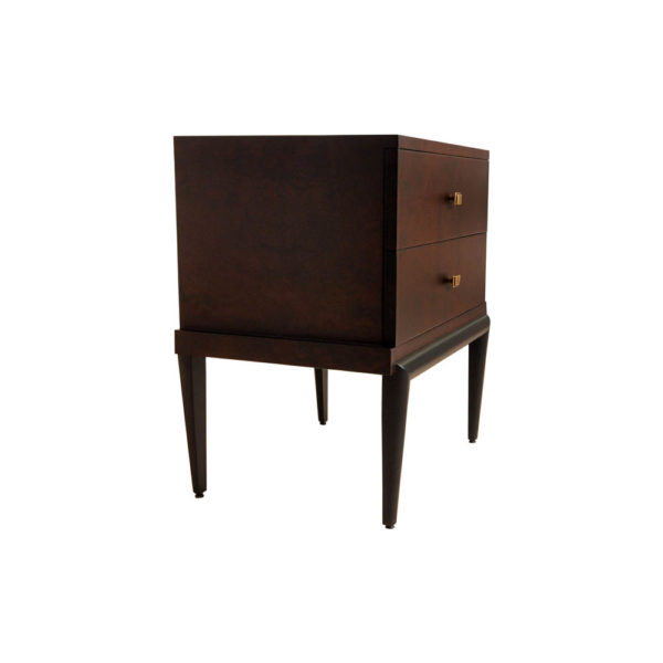 Leo Wooden 2 Drawer Dark Brown Bedside Table Beside View