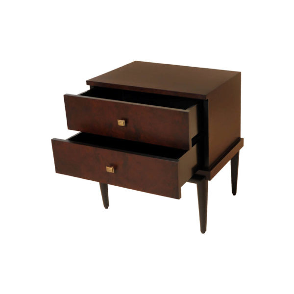 Leo Wooden 2 Drawer Dark Brown Bedside Table Open Drawers
