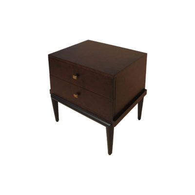 Leo Wooden 2 Drawer Dark Brown Bedside Table Side View