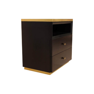 Manu Dark Brown Bedside Table with Drawer and Shelf Beside View