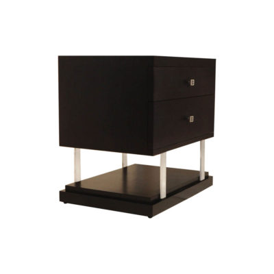 Max Two Drawer Black Wood Bedside Table Corner View
