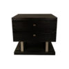 Max Two Drawer Black Wood Bedside Table 7