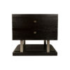 Max Two Drawer Black Wood Bedside Table 6