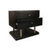 Max Two Drawer Black Wood Bedside Table 9