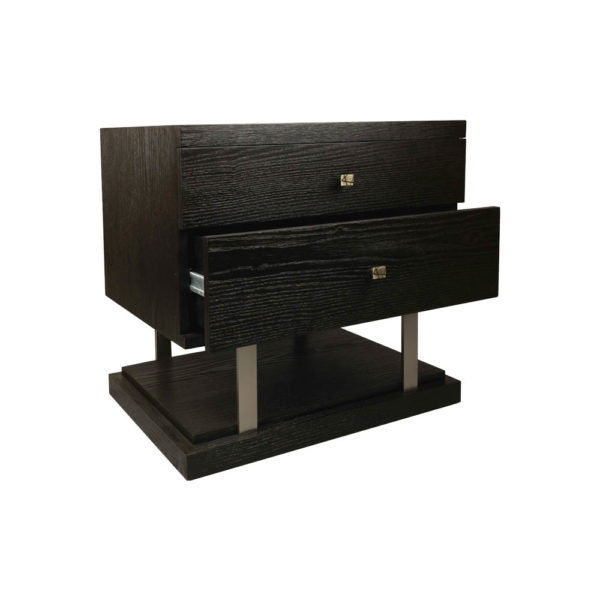 Max Two Drawer Black Wood Bedside Table