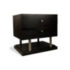 Max Two Drawer Black Wood Bedside Table 8