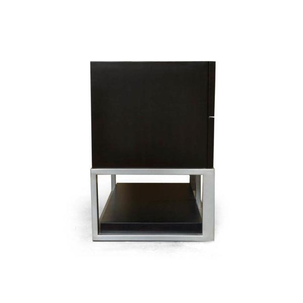 Max Two Drawer Black Wood Bedside Table Left Side