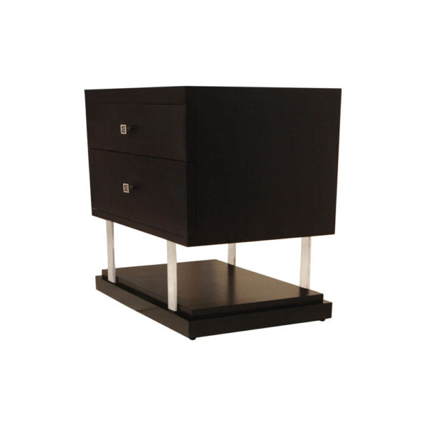 Max Two Drawer Black Wood Bedside Table Left Side View