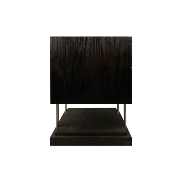 Max Two Drawer Black Wood Bedside Table Side View