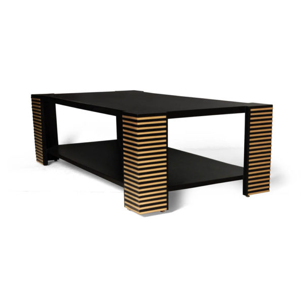 Pharo Rectangular Coffee Table Black Lacquer with Brass Strips 5