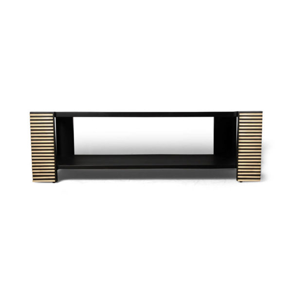 Pharo Rectangular Coffee Table Black Lacquer with Brass Strips 4